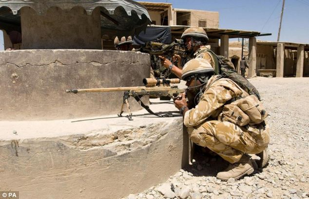 A British sniper team patrolling Sangin, Helmand Province, Afghanistan in 2006. The sniper that killed six Taliban with one shot was on one of the last missions carried out by UK troops in Afghanistan