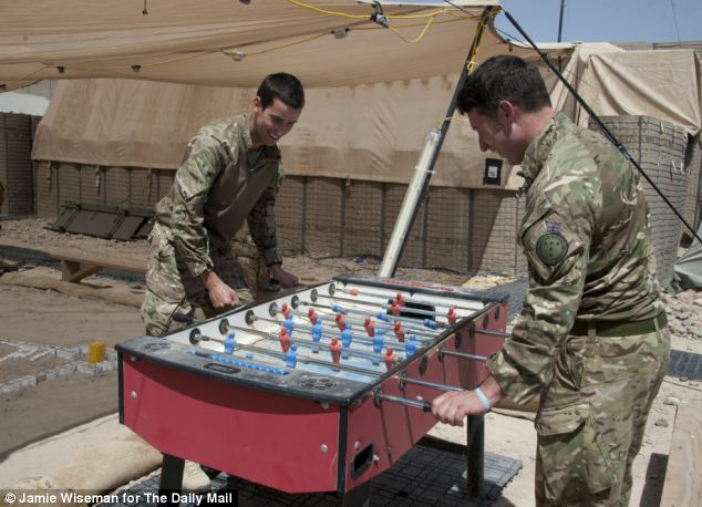 Game of table football anyone? Day to day life continues for British soldiers from 4 Scots and 9/12th Royal Lancers at the Sterga post