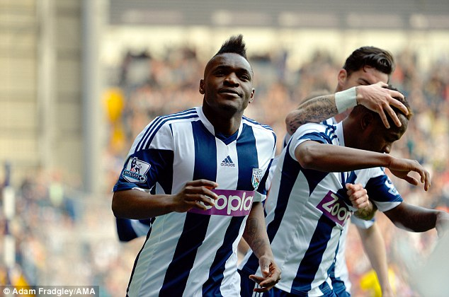 Onto a winner: Thievy Bifouma thought he had scored the winner for West Brom
