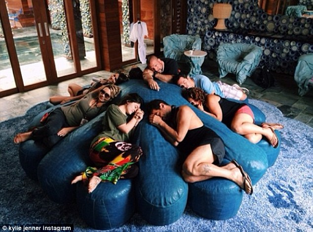 Sleeping beauties: All this posing was clearly exhausting for Kylie and her clan