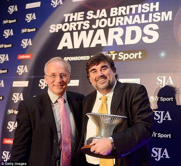 No 1: Martin Samuel (right) picks up the Sportswriter of the year award at Sports Journalism Awards last week