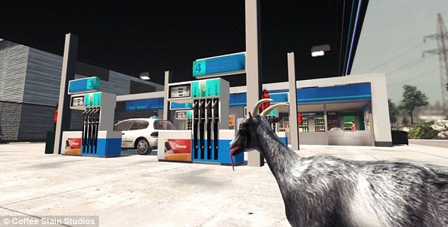 Goat Simulator (pictured) is a third-person game in which players take control of a goat. They can roam the game's virtual world, run, jump, and headbutt objects and people. They can also lick items which stick to the goat's tongue and can be thrown. It was developed by Swedish-based Coffee Stain Studios