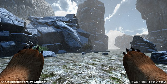 In March, Oregon-based Farajay Studios launched a Kickstarter campaign asking for funding for a Bear Simulator, pictured. It is a first-person game that lets players 'do bear things', including exploring, eating fish and plants and sleeping. The campaign hit its target funding within a week