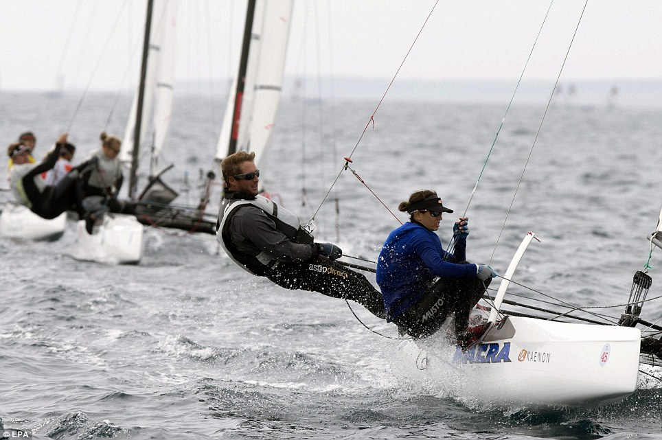 US yachtsmen Mark Mendelblatt and Carolina Mendelblatt compete in the Nacra 17category of the 45th edition of the Princesa Sofia Trophy