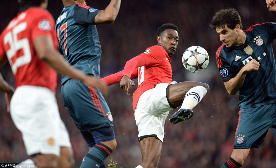 Manchester United striker Danny Welbeck controls the ball during the Champions League quarter-final first leg with Bayern Munich