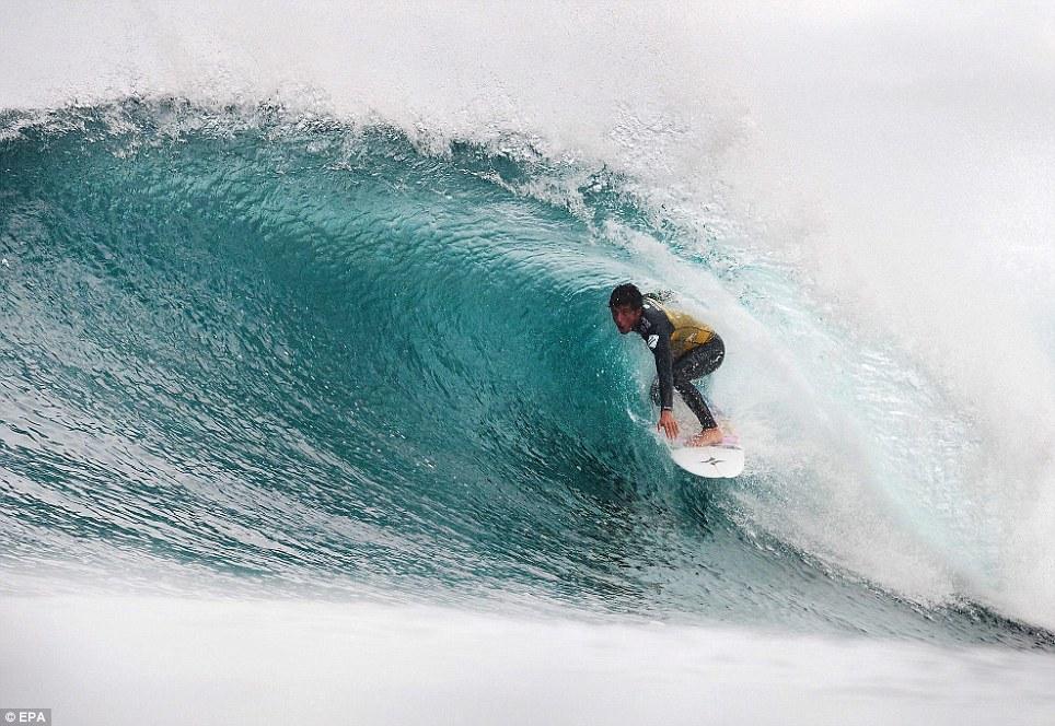 Brazilian Filipe Toledo in action during round 3 of the Drug Aware Margaret River Pro surfing event at Margaret River, western Australia