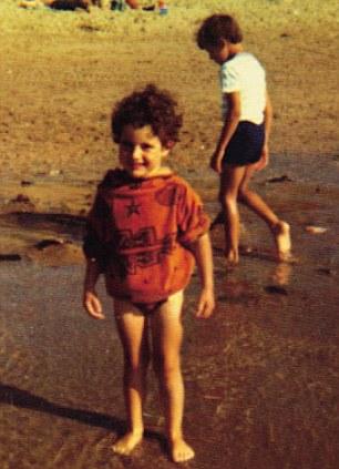Russel aged four on Croyde Beach in Devon