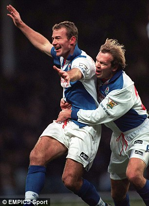 Breaking ground: Alan Shearer (left) was the first player to hit 31 goals in a 38 game season while playing for Blackburn in 1995/96