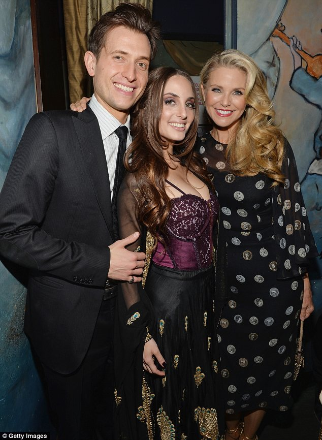 Shared passions: Alexa posed in between her mother and fellow singer Peter Cincotti after her performance