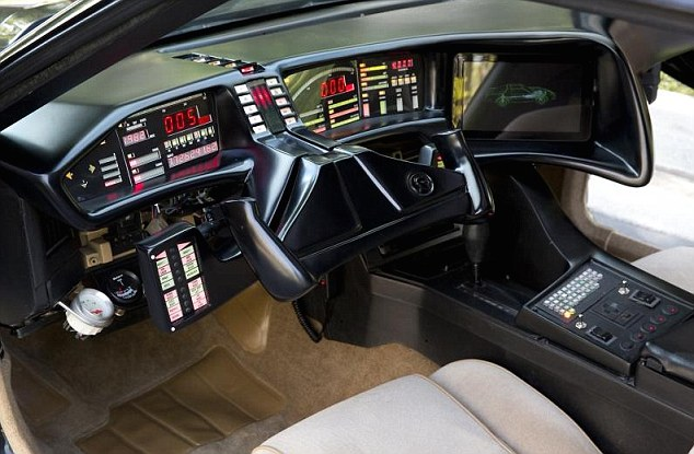 Detailed: The replica KITT even has a W-shaped steering wheel and vast quantities of flickering red and yellow LEDs for that added touch of authenticity