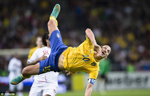 Bullet: Ibrahimovic completed his stunning goal in a friendly with England