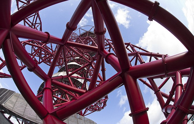 On the up: There are 455 steps to the top of the ArcelorMittal Orbit - but visitors are directed towards the lifts