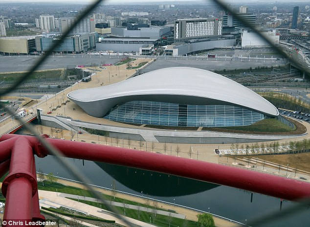 Waterworld: The view also shows off the Aquatics Centre, which hosted the Olympic swimming events