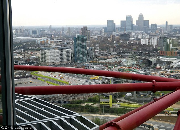 A different side of the city: London locations such as Canary Wharf are immediately visible from the top