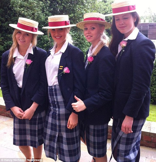 Rosie (L) pictured in 2011 at Bromsgrove School, with her friends Emily Taylor, Clara Hunt and Alice Shinner (L-R)