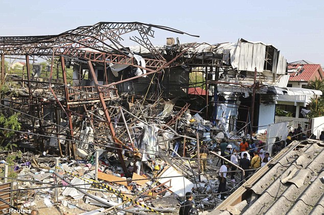 Stripped: The frame of the building was was exposed by the force of the blast