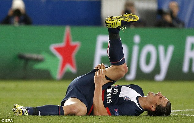 Blow: Ibrahimovic was forced to go off after picking up a hamstring injury