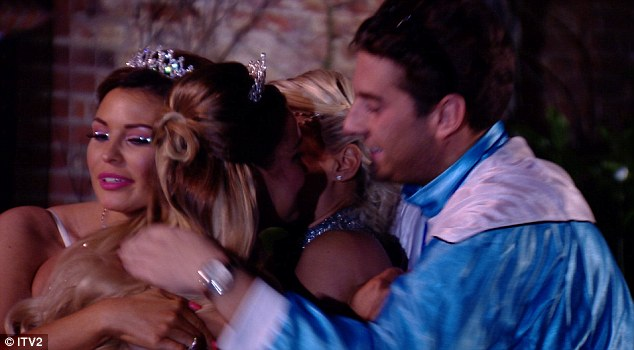They're going to miss her: Sam broke the news to sister Billie Faiers and friends James 'Arg' Argent and Jessica Wright who gave her a tearful hug