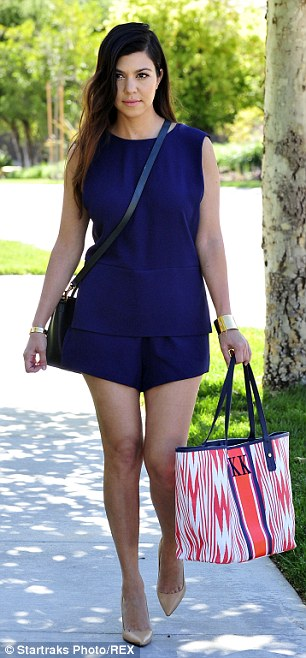 Looking good: Kourtney Kardashian sports a pair of shorts and matching sleeveless top for a day out in Los Angeles