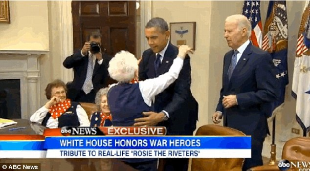 Biden and Obama politely hugged and kissed all of the real life 'Rosie the Riveters', but one decided to go the extra mile and plant one on Obama's lips