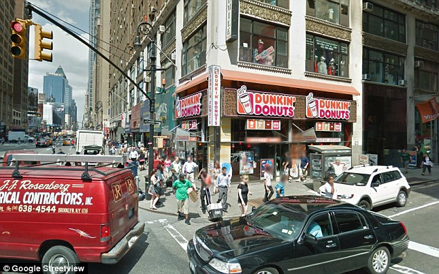 Rat home: The vermin spotting allegedly took place at this Dunkin' Donuts location in New York's Garment District