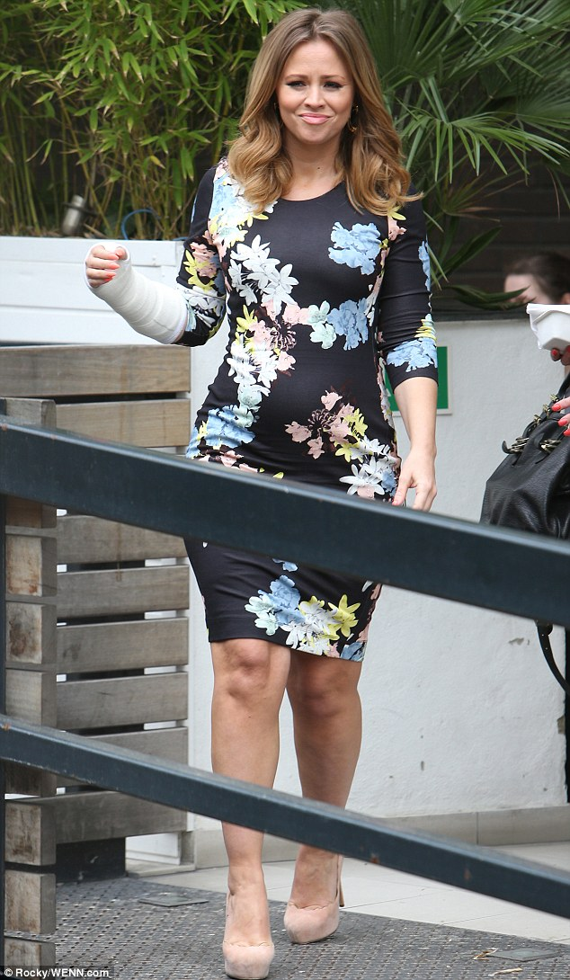 The Show-ing: The former Girls Aloud star finished off her look with flattering nude platform and gold hooped earrings