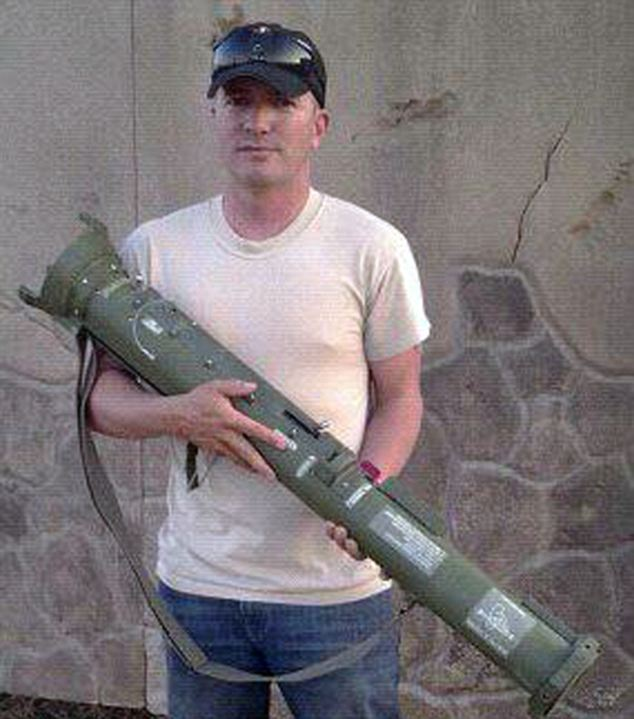 Heavy artillery: Considering he did not see combat during his time in Iraq, it is unclear why he was pictured with a rocket launcher