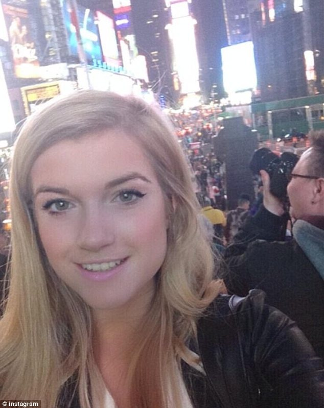 Publicity stunt?: Lucy shared this photo in Times Square on Instagram. James' alleged actions could be to promote his new movie Palo Alto, in which he plays a soccer coach who seduces his 14-year-old babysitter