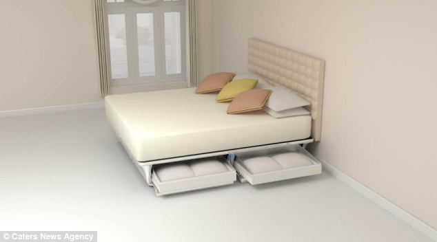 Sweet dreams: A British designer has invented a futuristic bed which is made from air, has a vibrating mattress and can control your temperature