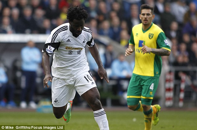 Goal-getter: Bony has scored 20 goals for Swansea in all competitions this season