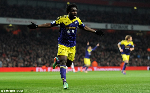 Star signing: Wilfried Bony has been an instant hit at Swansea since joining from Vitesse last summer