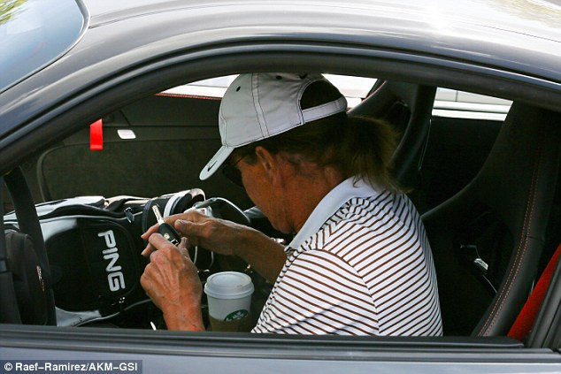 Precious cargo: Bruce kept his professional Ping equipment close at hand, with his bag and clubs riding shotgun in the passenger seat due to the lack of appropriate trunk space