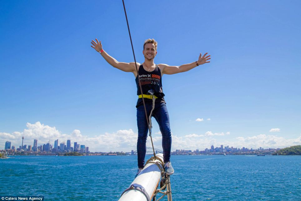 Busy man: Since heading to Oz in December Andrew has racked up more than 480,000 fun moments so far