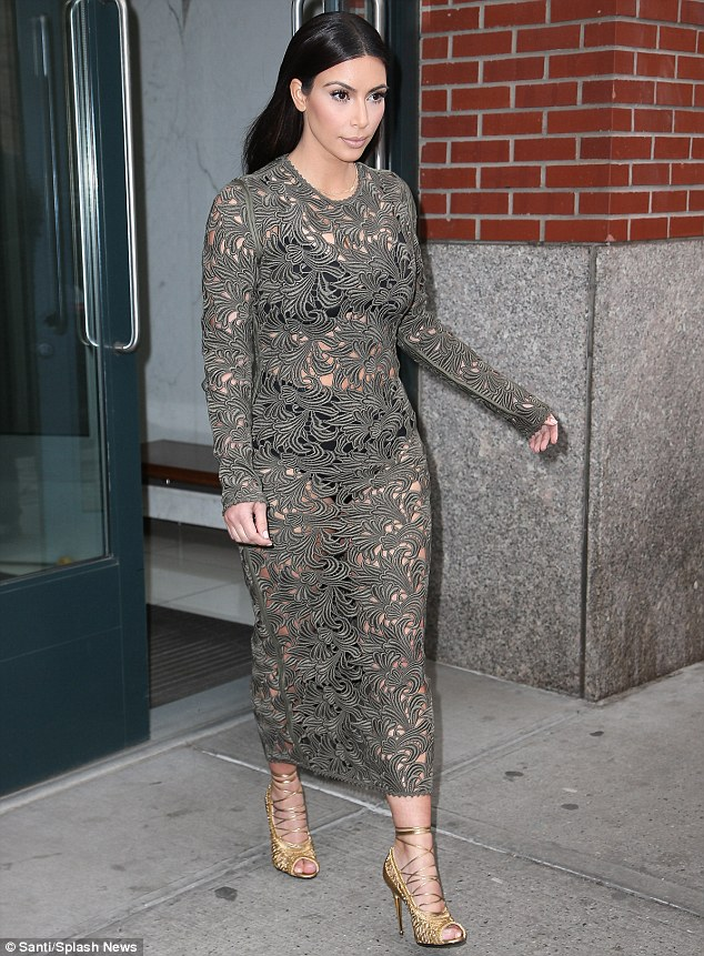 Sheer daring: Rochelle's knicker-baring outfit bore a resemblance to the grey lace shift dress Kim herself wore while out for dinner with fiance Kanye West and Vogue editor-in-chief Anna Wintour last week