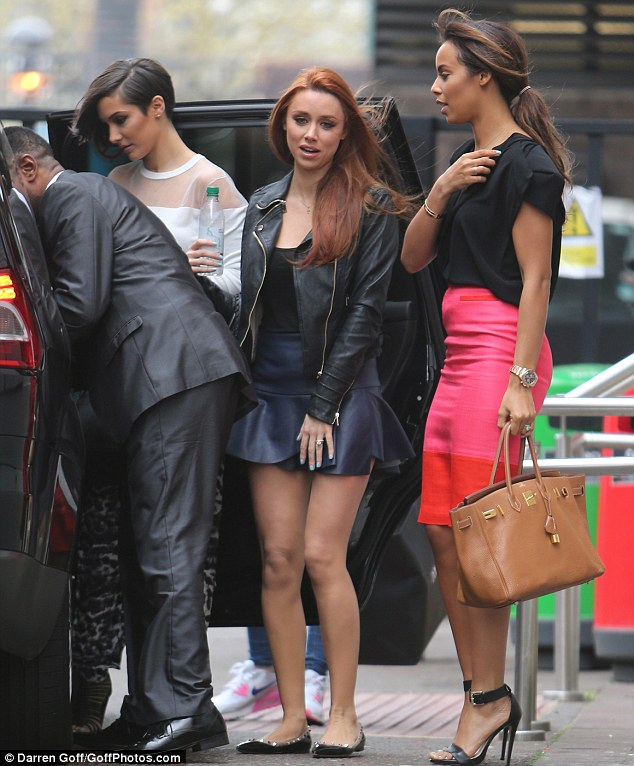 Pretty in pink: Rochelle was with her The Saturdays bandmates Una Foden, Mollie King, Vanessa White and Frankie Sandford