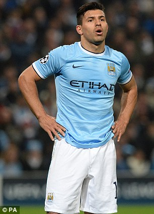 Sorely missed: Aguero's absence has been felt by City who sit third in the Premier League - four points off first