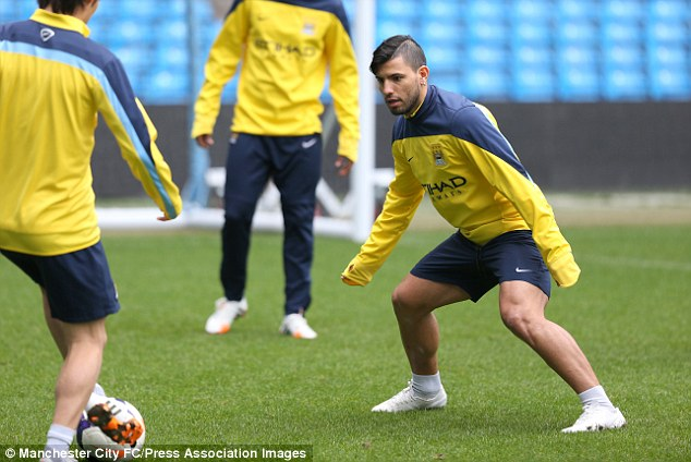 Eyes on the prize: City boss Manuel Pellegrini has ruled Aguero out of Saturday's clash against Southampton