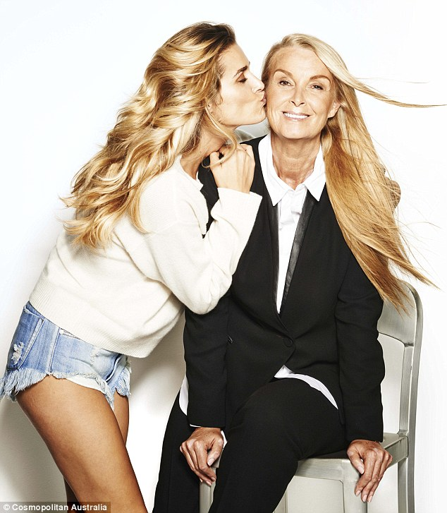 So close: Cheyenne Tozzi gives her mother Yvonne a kiss on the cheek as the duo pose together for Cosmopolitan magazine