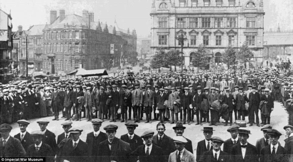 The Preston Pals. Volunteer recruits for a service battalion in civilian clothes, drawn up outside Preston Town Hall during the early months of the First World War