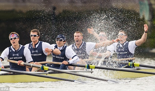 Champions: Oxford rowers celebrate their win over Cambridge in the 159th Boat Race last year
