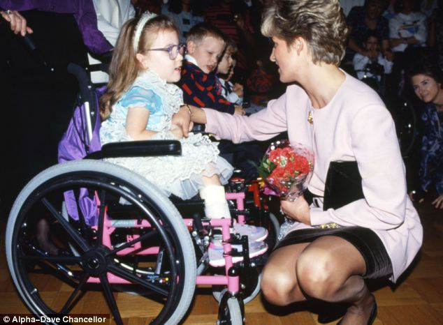 Diana meets a youngster in a wheelchair, also in Canada, in 1991