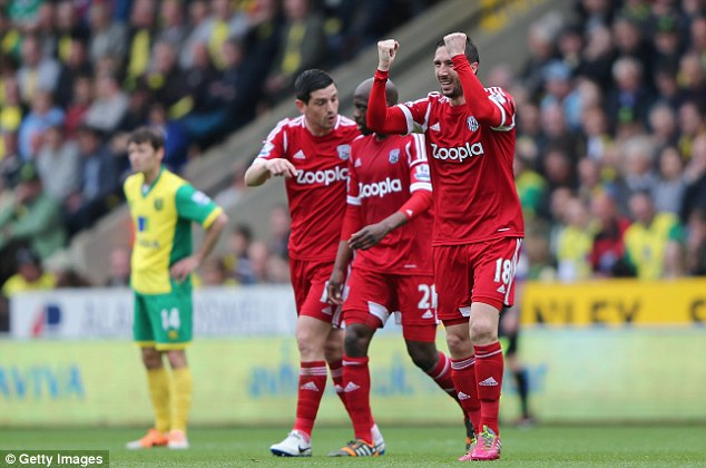 Get in! West Brom's Morgan Amalfitano celebrates scoring the winner against Norwich on Saturday