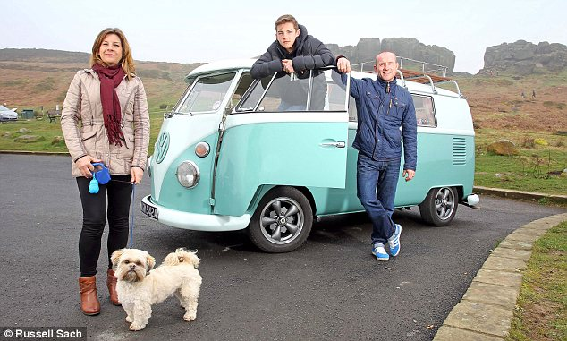 On the road: Stuart Greaves with partner Lisa Smithies, her son Bailey and Honey the dog