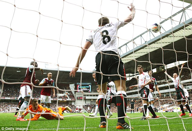 Opportunity knocks: Guy Demel latched on to the loose ball to equalise for West Ham at Upton Park