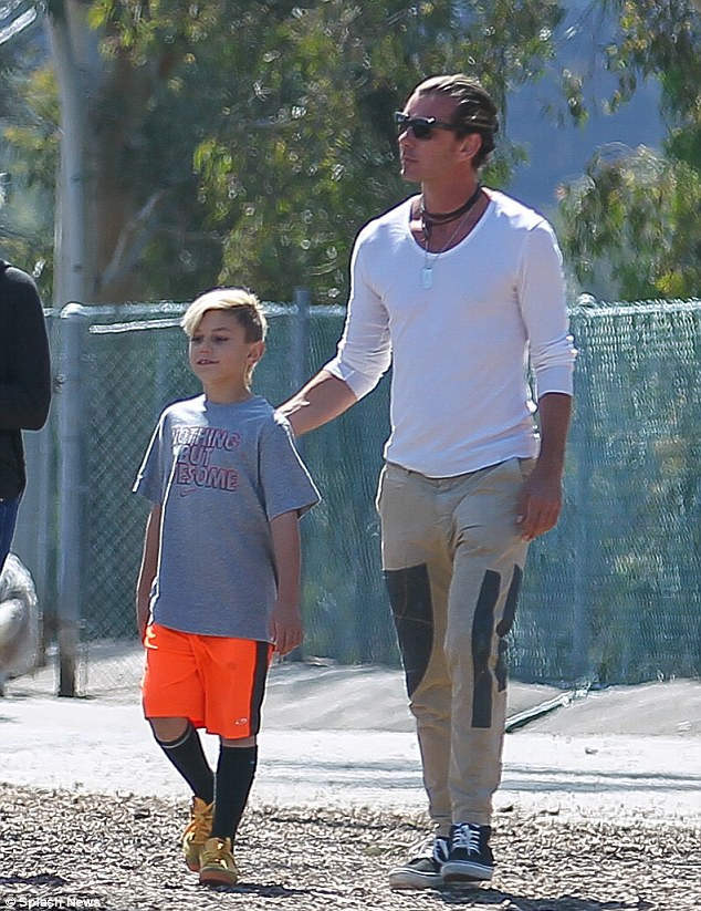 Bonding time: Gwen Stefani's husband Gavin Rossdale takes son Kingston and the family dog to a park in Los Angeles