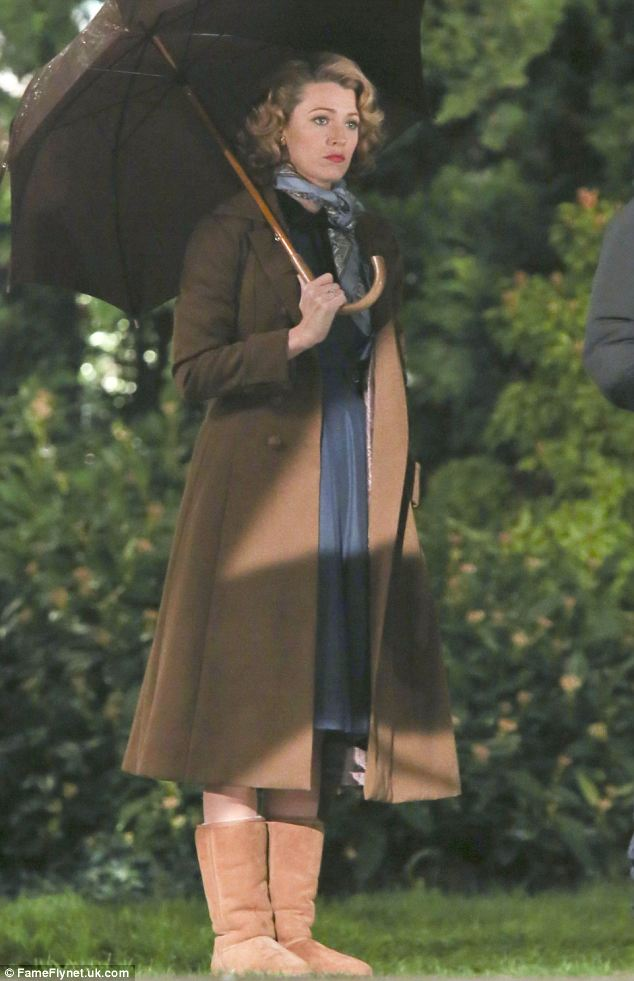 Incongruous: Blake Lively wore shearling boots with her period outfit as she filmed The Age of Adeline in Vancouver, Canada