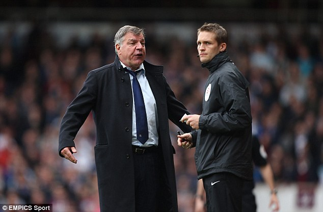 Furious: West Ham boss Sam Allardyce was angry at the awarding of the second penalty