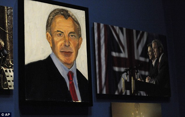 Mr Bush's rendition of former Prime Minister Tony Blair on display at the George W. Bush Presidential Library and Museum in Dallas