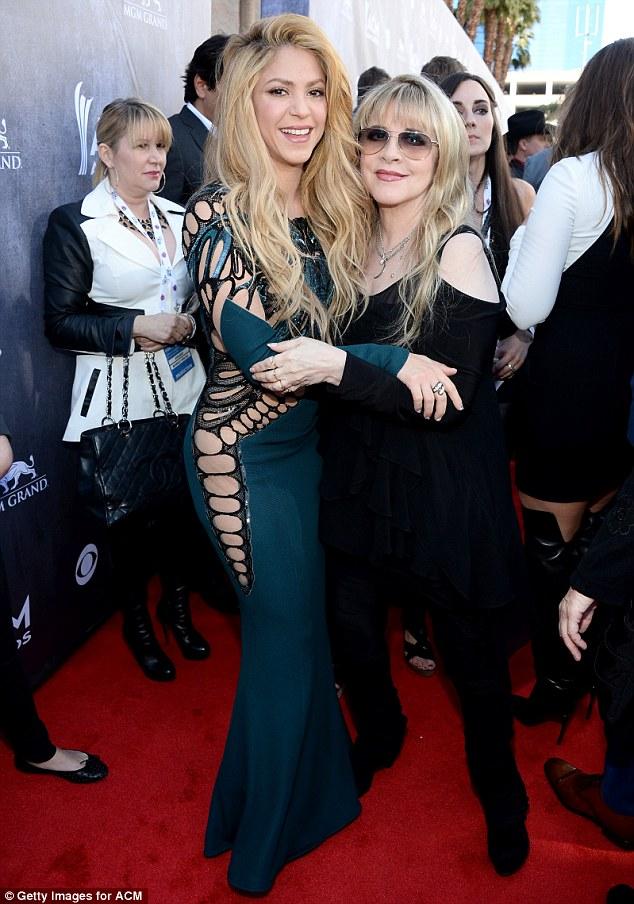 Casting more spells: Shakira hugged Fleetwood Mac siren Stevie Nicks before heading into the arena