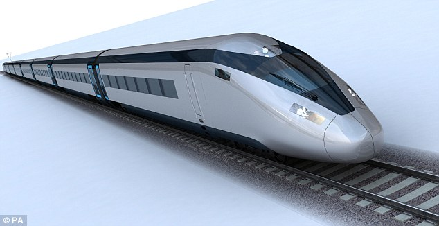 The Commons Environmental Audit Committee says more environmental assurances are needed if HS2 is to go ahead. Pictured, a potential HS2 train design